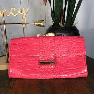 Ann Taylor LOFT Pink Embossed Leather Clutch NWT